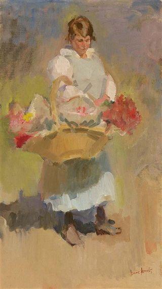 Isaac Israëls - A FLOWER-GIRL