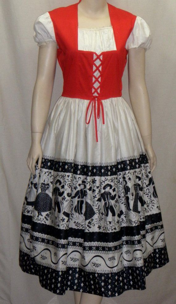 vintage 1950 39 s german dirndl dress full circle by. Black Bedroom Furniture Sets. Home Design Ideas