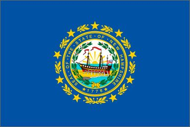 "New Hampshire's State Flag (Entered the Union on June 21, 1788, 9th state) ~ Origin of Name: after the English county of Hampshire ~ State Motto: Live free or die ~ State Song: ""New Hampshire, My New Hampshire"" ~ National Forests: 1; State Parks: 65 ~ Famous for: Autumn splendor, White Mountain National Forest, 1300 lakes, Maple syrup"