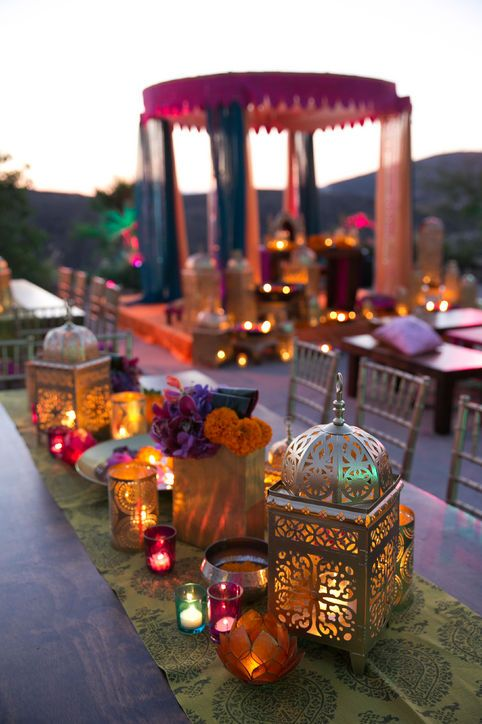 Real Wedding Album: Elshane & Taylor's Moroccan-Themed House Party candle centerpieces