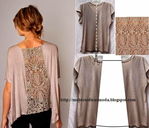 DIY refashion a t shirt with lace. Fashion and Sewing Tips http://modaedicasdecostura.blogspot.pt/2014/04/reciclagem-e-aplicacoes-3.html