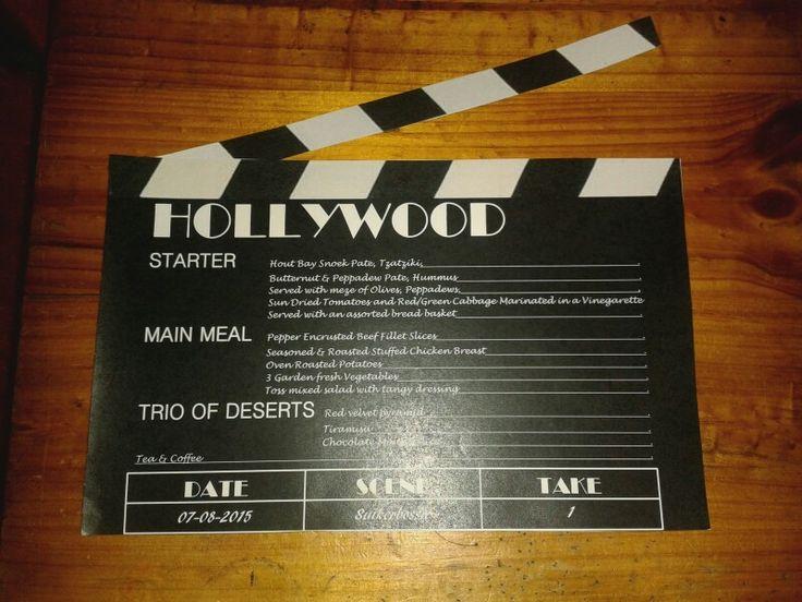 NLW Crafts Hollywood Clapboared menu design