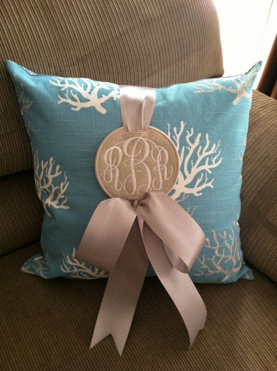 Coral+Pillow+with+Monogrammed+Pillow+Charm+by+EmmabellasDesigns,+$48.00