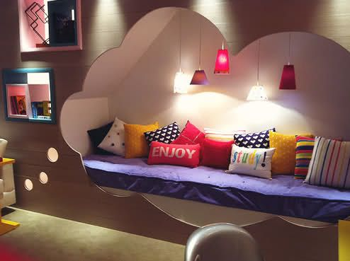 how adorable for kids!!Clouds, Dreams, Thoughts Bubbles, Book Nooks, Kids Room, Girls Room, Kid Rooms, Reading Nooks, Bedrooms