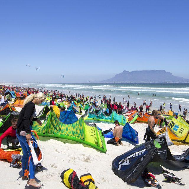 Kitesurfer gathering at Dolphin Beach, Cape Town - Virgin Kitesurfing Armada January 2016