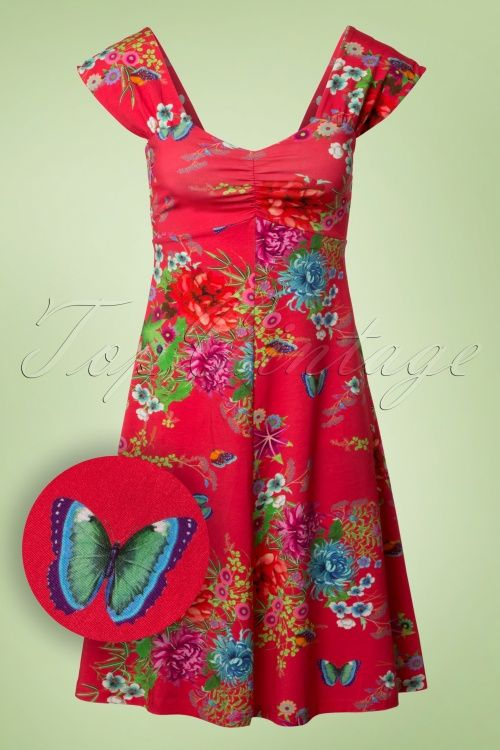 Lien & Giel Butterfly Gera Amy Floral Butterfly Red Dress bloemen vlinder print jurk rood