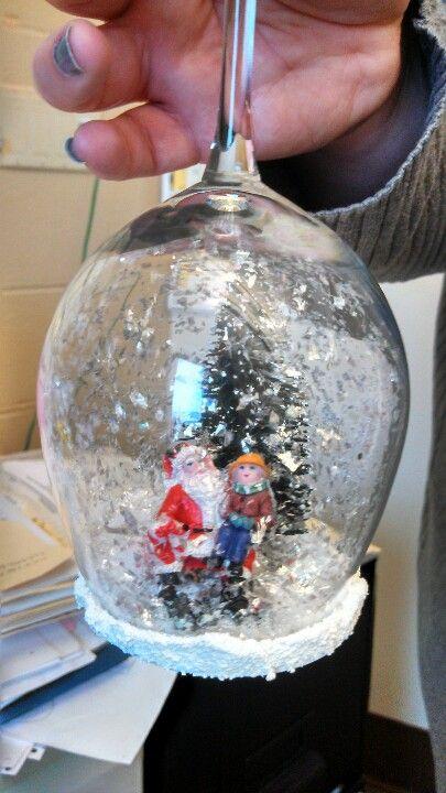 Wine glass snow globe.