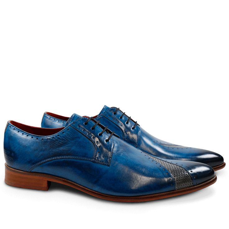 Derby Schuhe Toni 8 Crust Bluette Crust Perfo Morning Grey LS Natural