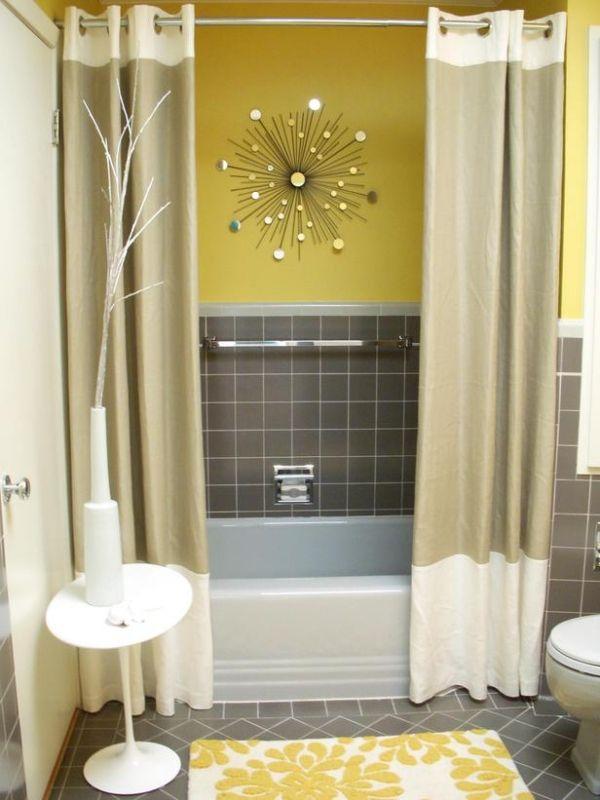 Badezimmer Farben Grau Gelb Duschvorhang Wandspiegel Mehr
