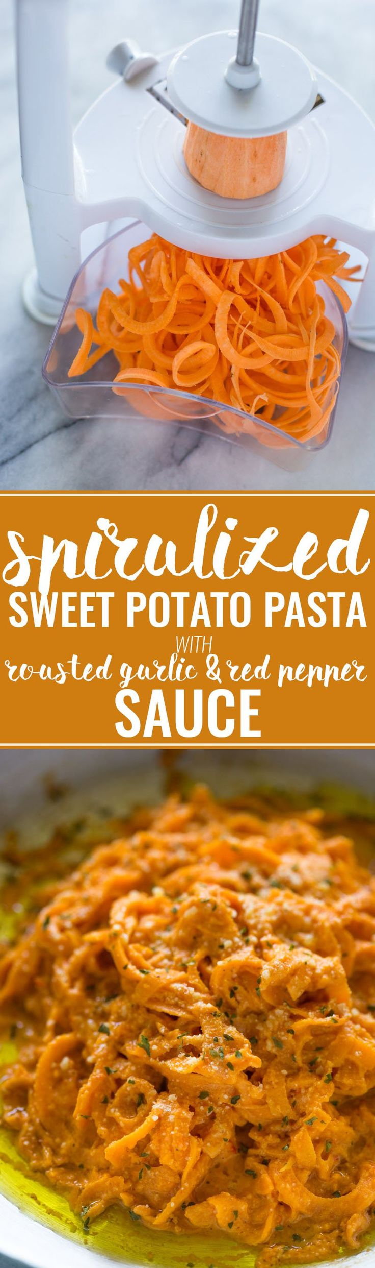 """Spiralized Sweet Potato """"Pasta"""" with Roasted Garlic Red Pepper Cream Sauce"""