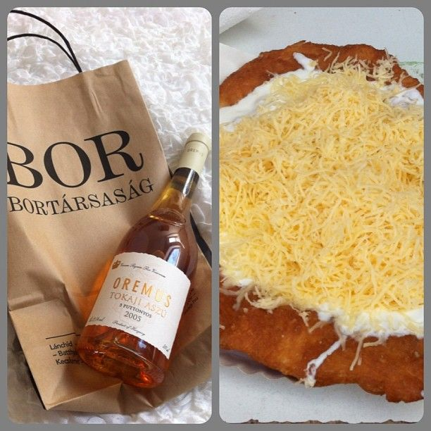 The best of Hungarian cuisine: Tokaji Aszu 5 puttonyos and cheese & sour cream langos (a pancake shaped donut) - Hungary, Tokaj