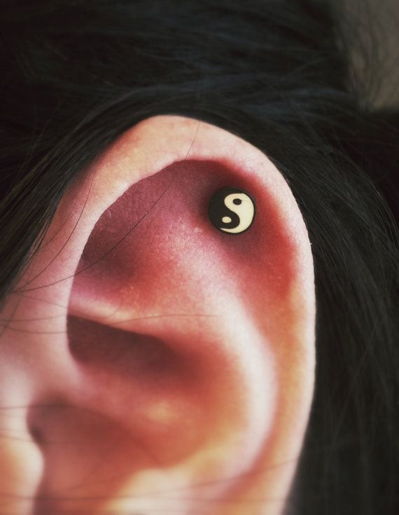Yin Yang Zen Style Surgical Steel Stud Earring. Perfect for Helix and Cartilage Piercings. on Etsy, $2.45