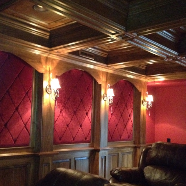 Could paint current theater room walls like this-as a theater themed mural.
