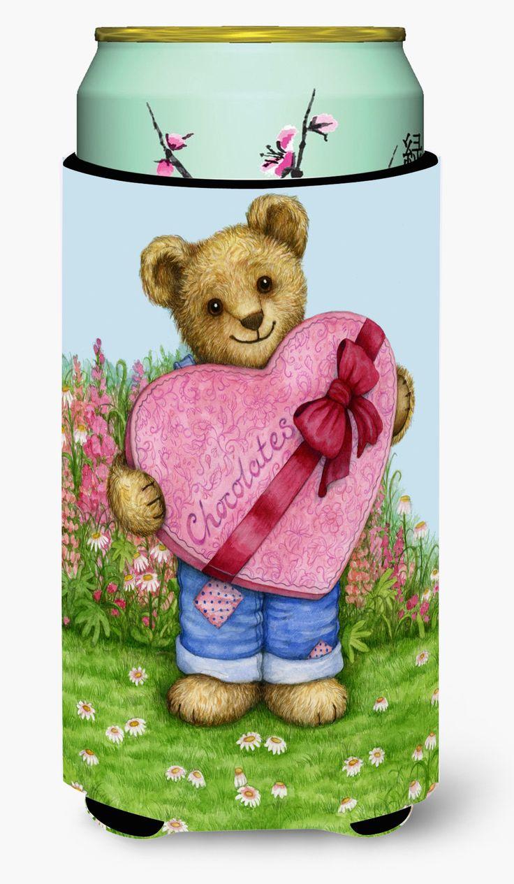 Valentine Teddy Bear with Chocolates Tall Boy Beverage Insulator Hugger CDCO318ATBC