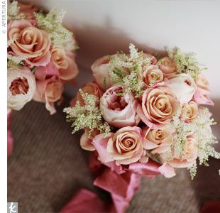 Bridesmaid Bouquets -- mixed roses and astilbe  (size medium)