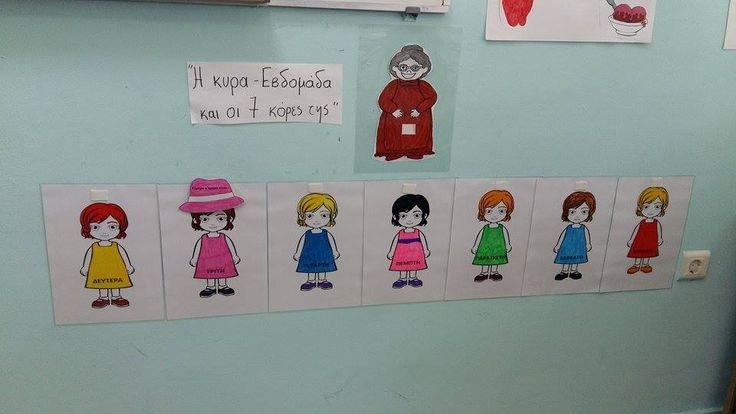 Ημέρες της Εβδομάδας: Το καπέλο κρατά ''η μαμά'' τους και κάθε μέρα το δίνει και σε άλλη κόρη! Εκτός από εκμάθηση των ημερών τα παιδιά μαθαίνουν και τις έννοιες προηγούμενος-επόμενος