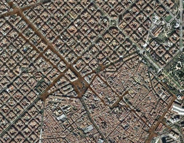 eixample barcelona from satellite