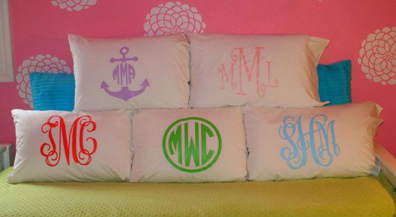 Monogrammed Pillow Case  Girl's by SimplyChicMonograms on Etsy, $18.00