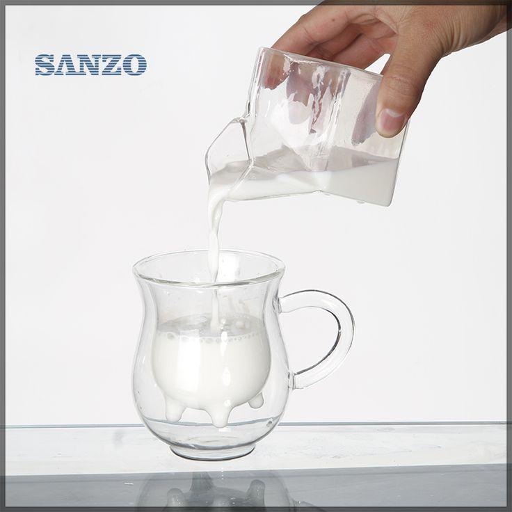 Livraison gratuite résistant à la chaleur à double paroi en verre creative tasse de lait bouteille vache laitière de lait en verre tasse de café 250 ml dans tasses de Maison & Jardin sur AliExpress.com | Alibaba Group