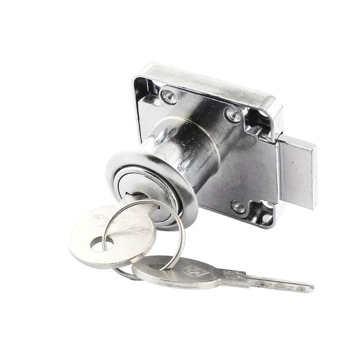 Unique Bargains Home Office Mailbox Silver Tone Deadbolt Drawer Lock + 2 Keys