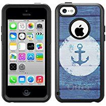 Skin Decal for Otterbox Commuter iPhone 5C Case - Anchor on Blue Wood