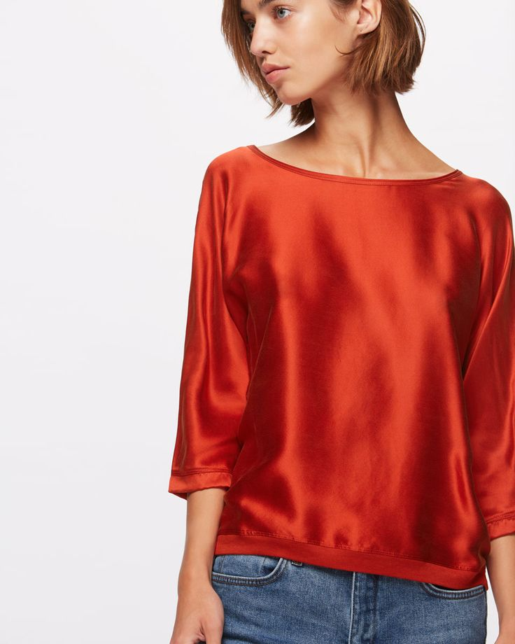 Silk Satin Batwing Top