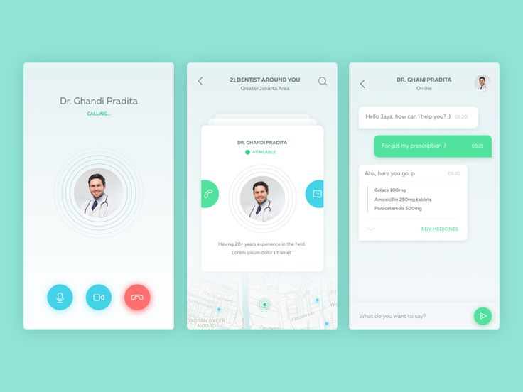 Amazing Chat Interface Inspiration: Contact Doctor App by Iswanto Arif