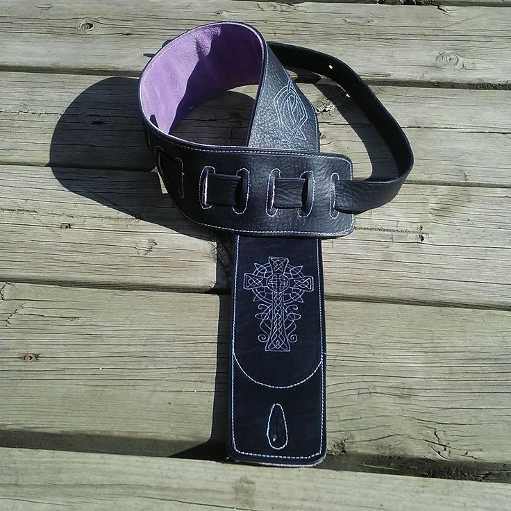 Celtic Cross and Knot Guitar Strap - Black and Purple - White Stitching.