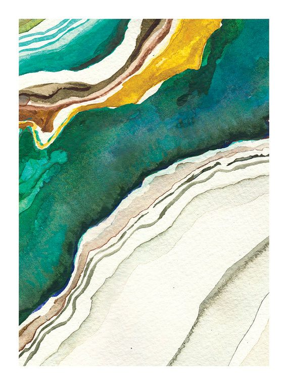 Agate II Abstract Watercolor: Art Print by versoART on Etsy #agate #agatewatercolor #marbled