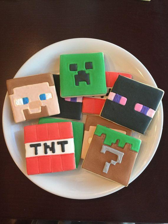 Minecraft Cookies / One Dozen by ShopCookieCouture on Etsy