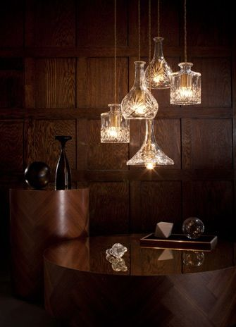 Decanter lights and chandelier by Lee Broom through Cafe Culture. #Great #Gatsby 1920s inspired design on the RSD Blog.