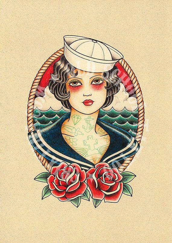 T03. Sailor woman. Flash tattoo. Old school tattoo. por Retrocrix