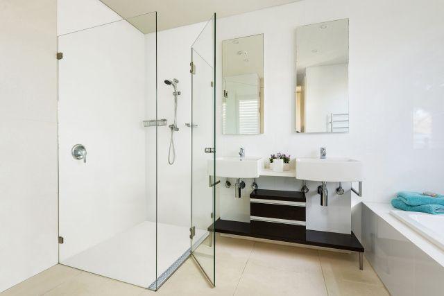 Corian and Stormtech's no-grout shower floor - Reno Addict