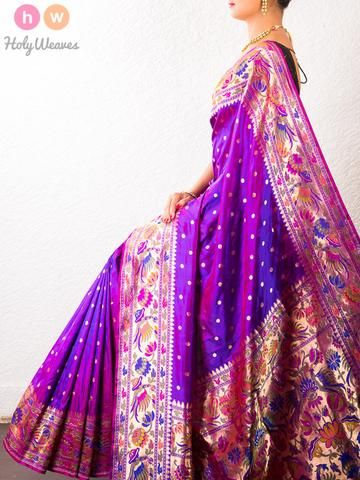 #Purple #Handwoven #Katan #Silk #Paithani #Saree #HolyWeaves