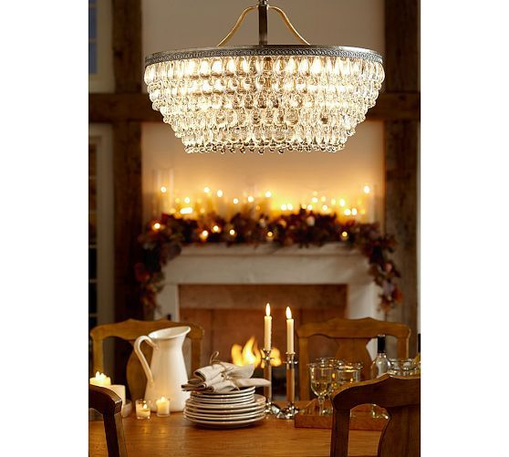 Clarissa Glass Drop Large Chandelier Antique Silver Finish By Pottery Barn Lil Obsessed With