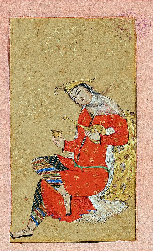 زن و شراب هنرمند نامعلوم سده 11 ه ق کاخ گلستان the sitting woman and Wine Unknown artist 17 century  Golestan Palace, Tehran, Iran