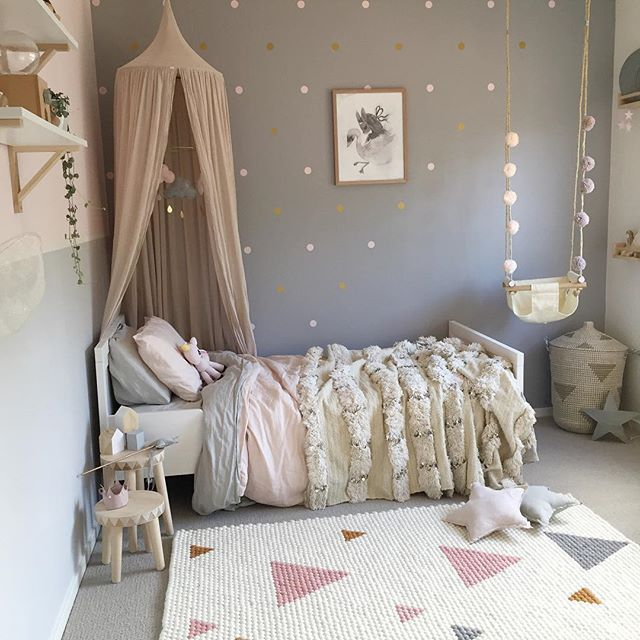 "Dove gray"" blush, cream, gold & pewter. Fairy star inspired girls bedroom. Dots, swan, plush layering bedding, swing"
