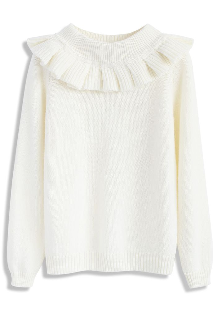 Jolly Detachable Collar Sweater in Ivory - New Arrivals - Retro, Indie and Unique Fashion