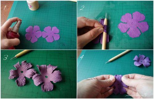 как сделать красивые и живые цветы из плотной акварельной бумаги тонкого картона в домашних условиях, простой и подробный мастер-класс, мк, МК, макет шаблон для вырезания лепестков