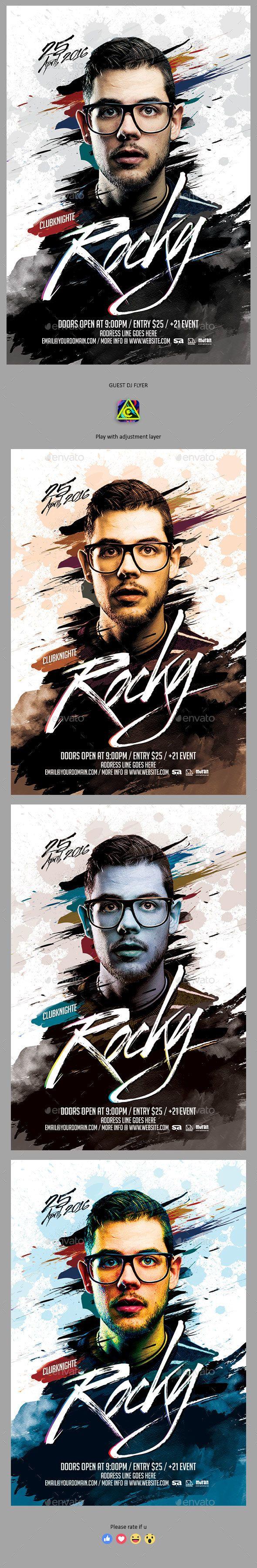 Guest DJ Flyer — Photoshop PSD #festival #artistic • Download ➝ https://graphicriver.net/item/guest-dj-flyer/19657332?ref=pxcr
