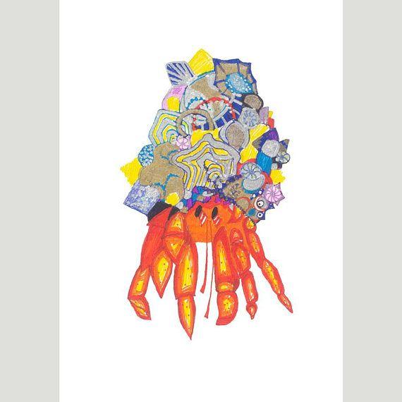 A5 Giclee Print: Crab MelanieReevesArt Etsy
