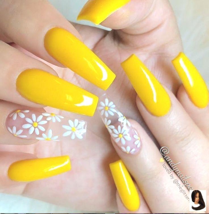 Acrylic Coffin Design Gel Nail Nails Pastel Spring Nails Coffin Yellow Yellow Coffin Acrylic Nails Design Yellow G Unhas Unhas De Gel Unhas Decoradas