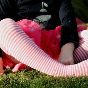 Merino Wool Tights - Rose Stripe