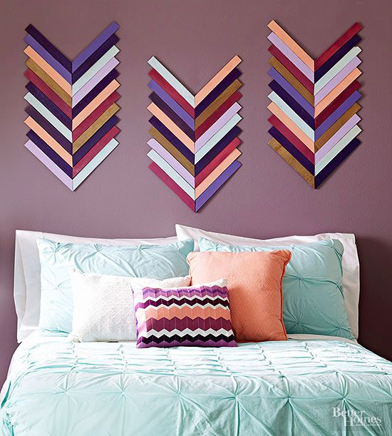 Add eye-catching flair to a plain wall with colored wood shims laid out in a chevron pattern. This project starts at your local hardware store: Swing by and pick up wood shims and spray paints in your fave colors.