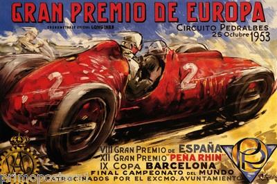 1953 Barcelona Spain Grand Prix Car Race Europe Vintage Poster Repro | eBay