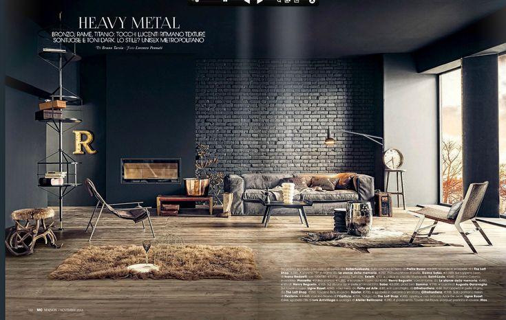 dark painted brick wall living room