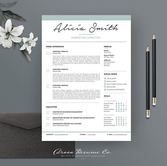 Resume Template 3 pages | Minimalist by Draca Design Co on @creativemarket