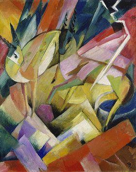 Franz Marc (1880–1916)- Der Blaue Reiter is poëtisch en verraadt invloeden van Russische sprookjes en oude volksverhalen. De kunstenaars werken vanuit hun gevoel, gebruiken veelal felle kleuren en zijn gefascineerd door de natuur en dieren. Dit uit zich bijvoorbeeld in de met liefde weergegeven imposante paarden van Franz Marc die als trots, beeldvullend onderwerp van een schilderij een grote empathie oproepen bij de toeschouwer. --1913