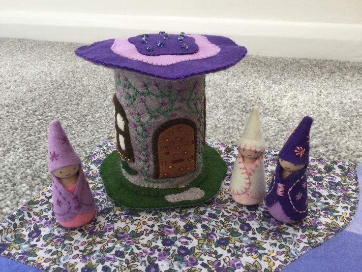 2017 - 4 Purple Felt Fairy House - Made by Jan