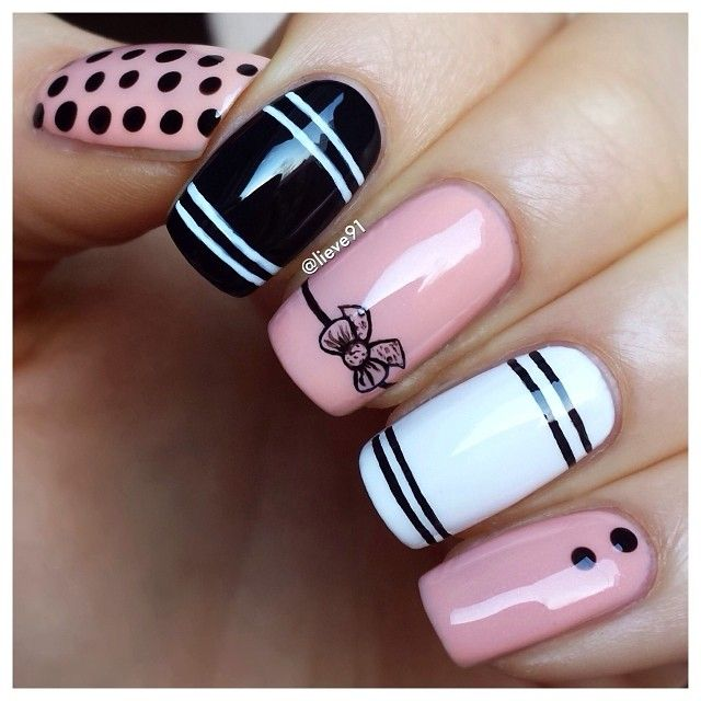 Pale pink, black & white stripes and dots manicure. - 25+ Trending Pink Black Nails Ideas On Pinterest Black And Nude